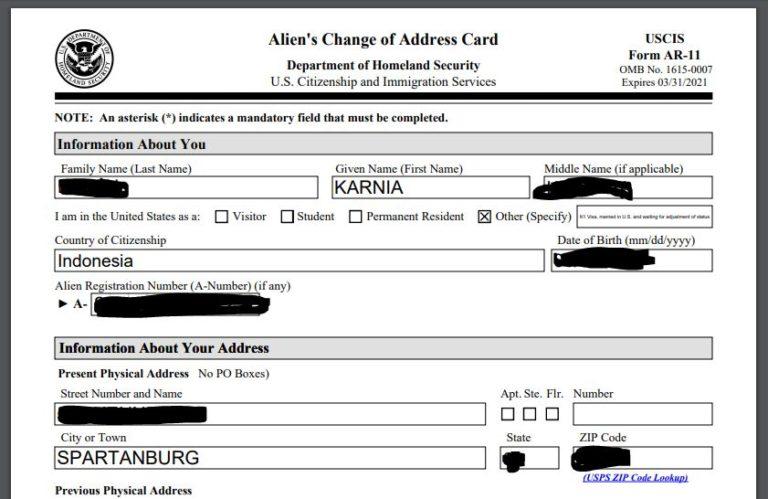 Perubahan Alamat Di USCIS untuk Adjustment Status & GreenCard